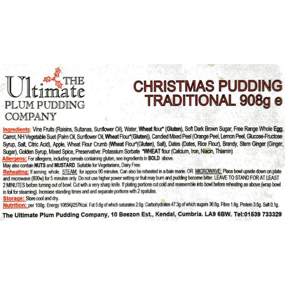 The Ultimate Plum Pudding Company Traditional Christmas Pudding 908g