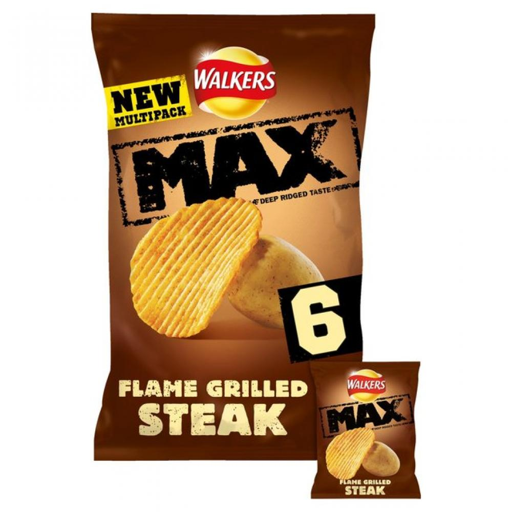 Walkers Max Flame Grilled Steak 6 x 27g