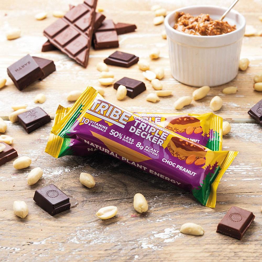 Tribe Plant Protein Bar Choc Peanut Triple Decker 40g
