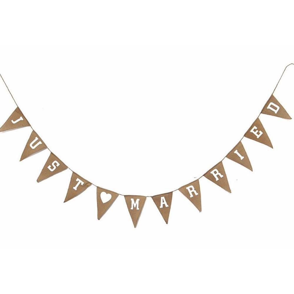 Unbranded Hessian Just Married Bunting