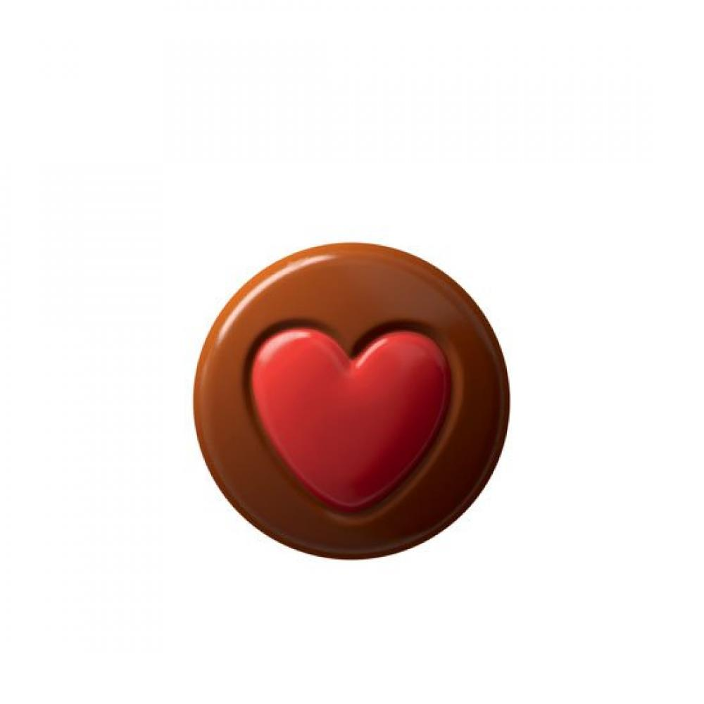 CASE PRICE  Unbranded Milk Chocolate Disc with Red Heart 1.8kg