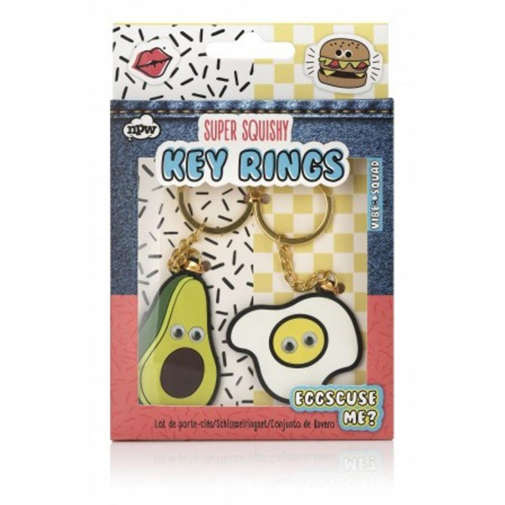 NPW Novelty Avocado and Fried Egg Key Chain