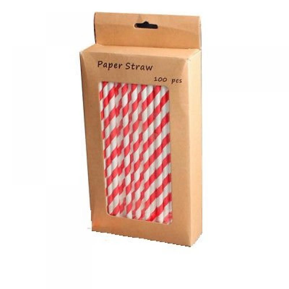 Unbranded Red and White Paper Straws 100 pack
