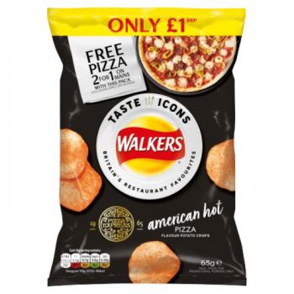 Walkers American Hot Pizza Flavour Crisps 65g