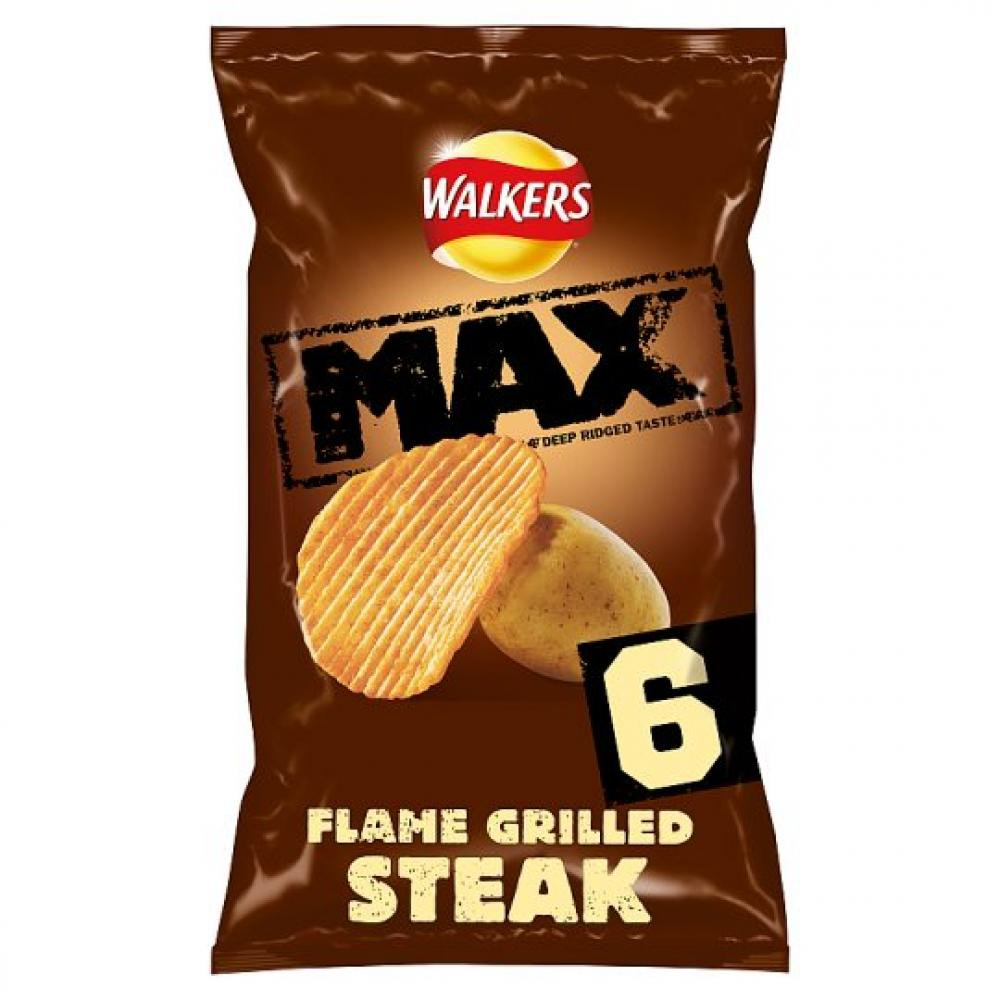 Walkers Max Flame Grilled Steak 6x27g