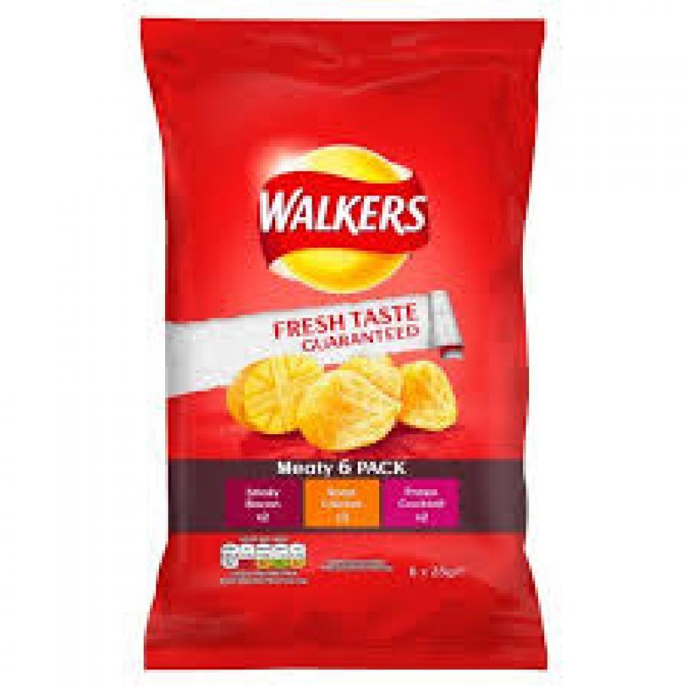 Walkers Meaty Variety Crisps 6 x 25g