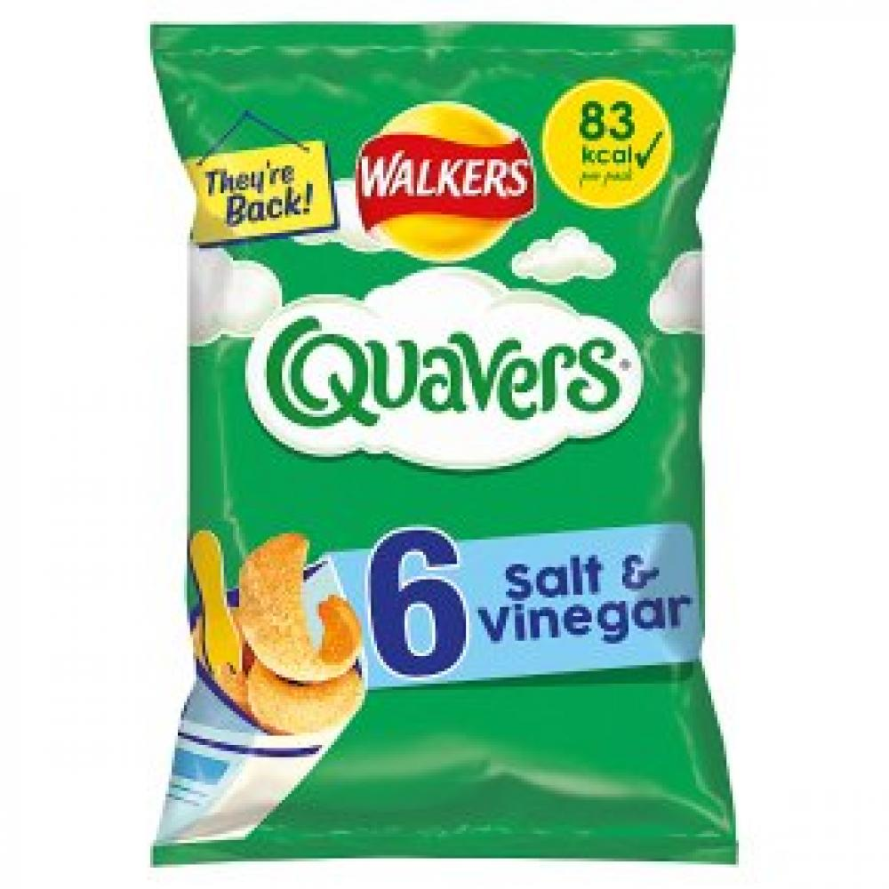 Walkers Quavers Salt and Vinegar 6 x 16g