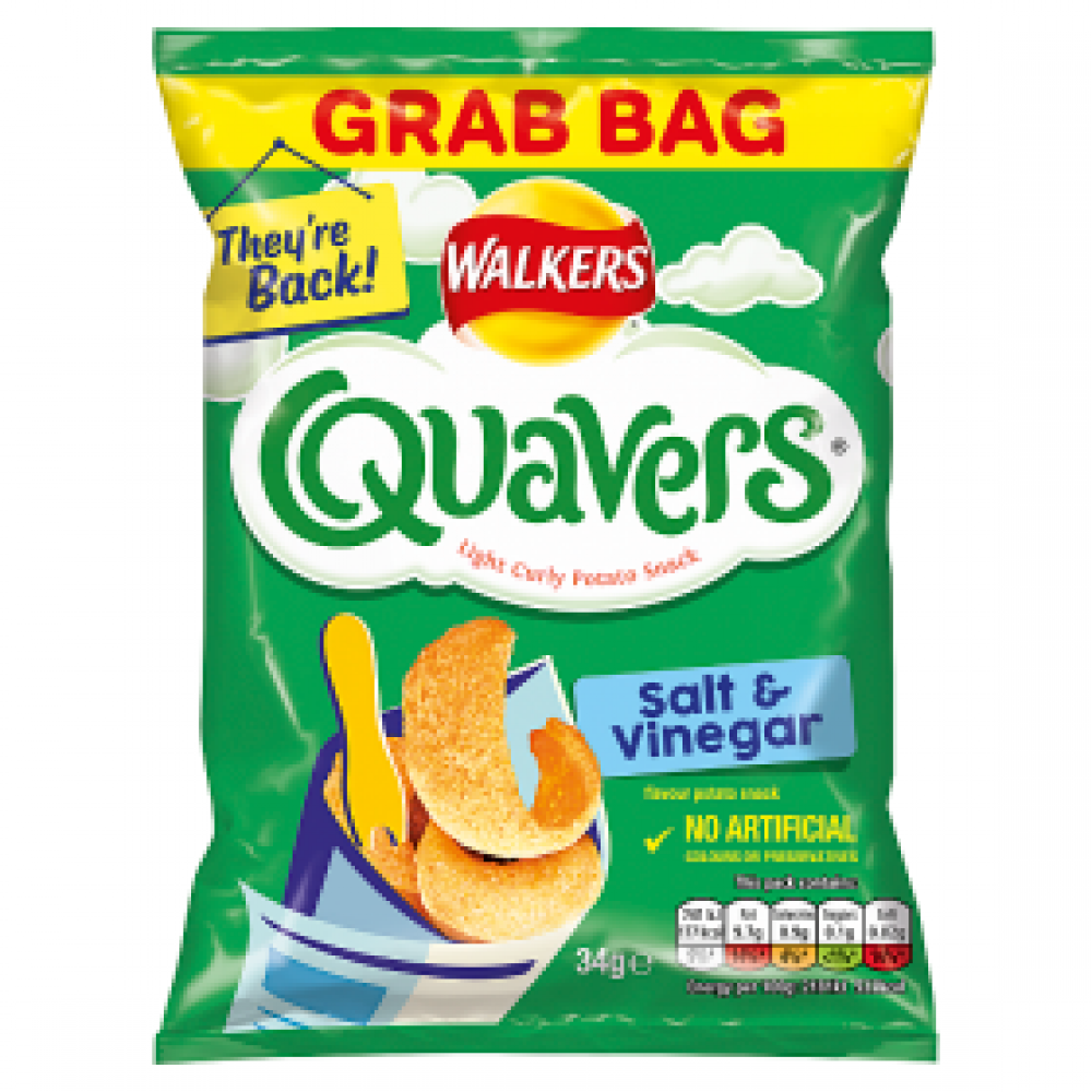 Walkers Quavers Salt and Vinegar Grab Bag 34g