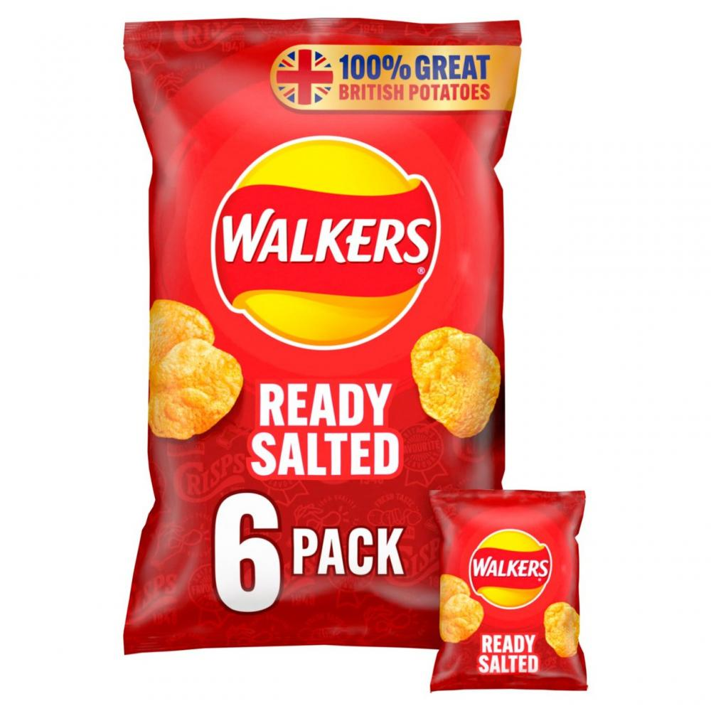 Walkers Ready Salted 6 x 25g
