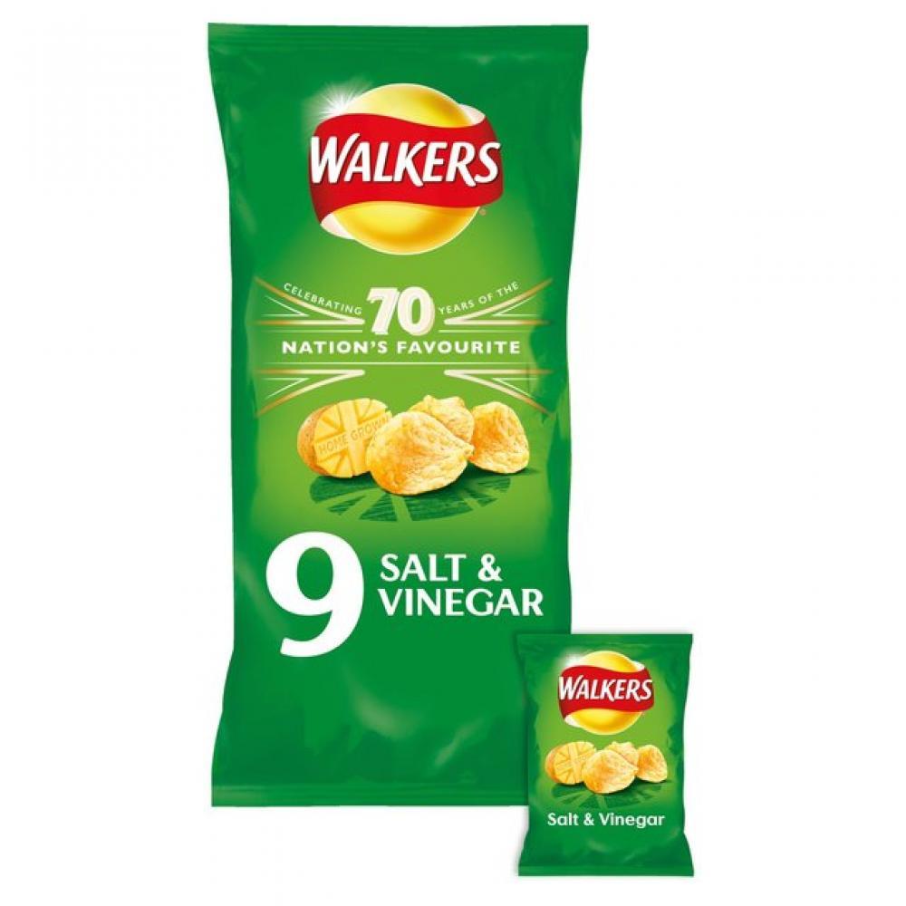 Walkers Salt and Vinegar Flavour Crisps 25g x 9