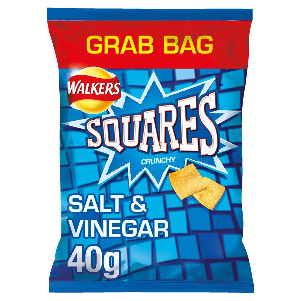 Walkers Squares Salt and Vinegar Potato Snacks 40g