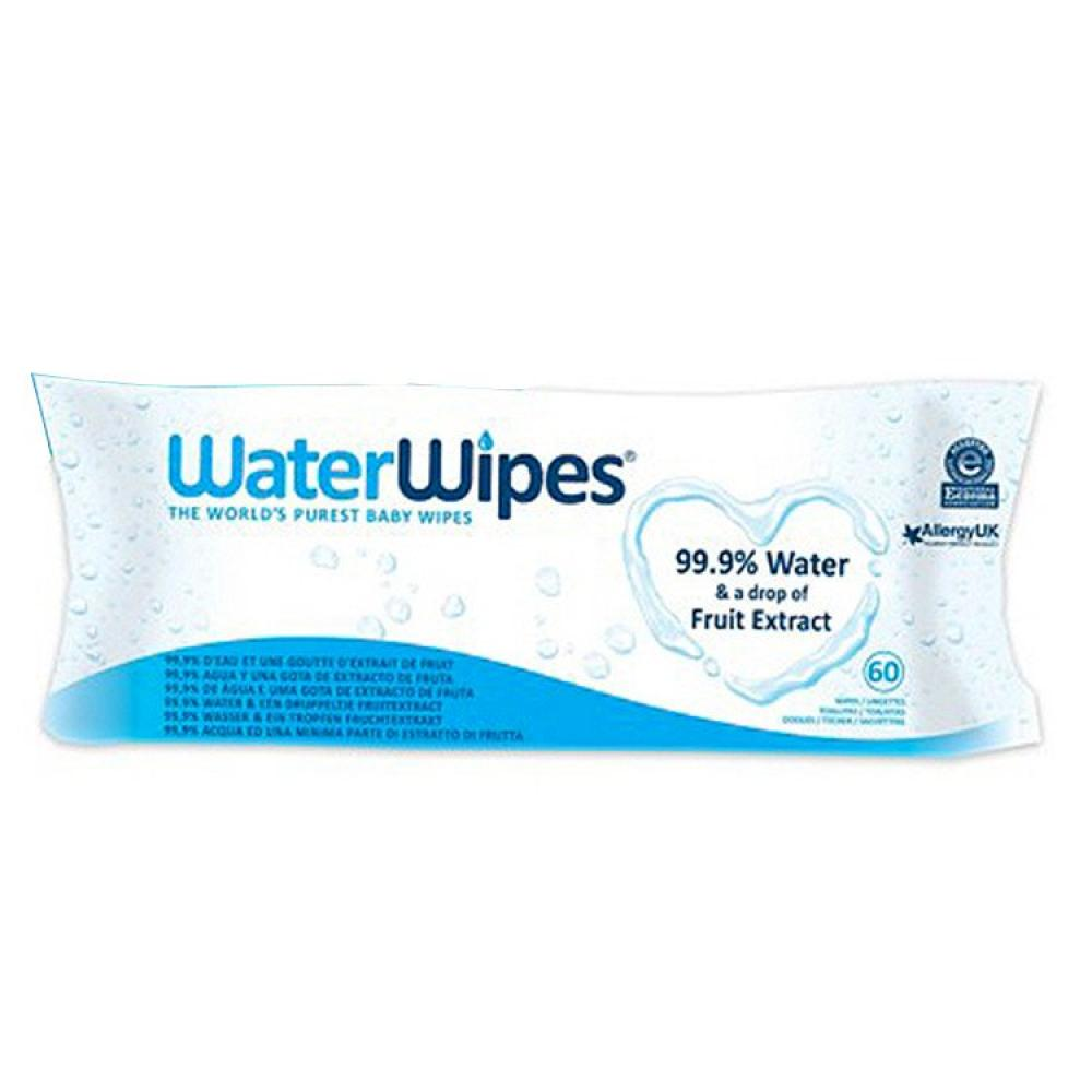 WaterWipes Natural Sensitive Chemical Free 60 Baby Wipes