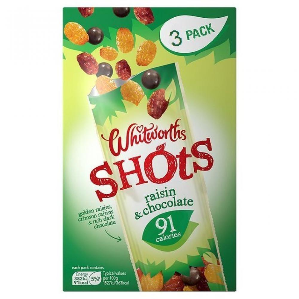 Whitworths Raisin and Chocolate Shots 25g x 3