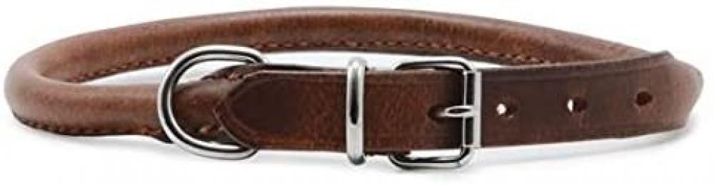 Ancol Round Leather Collar Chestnut 39-48cm