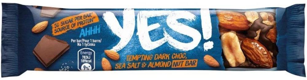 Yes Dark Choc Sea Salt and Almond Nut Bar 35g