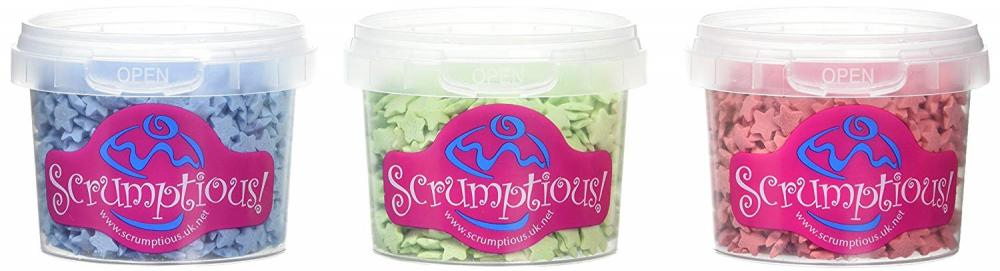 Scrumptious Trio Stars Cake Decorations 3x60g