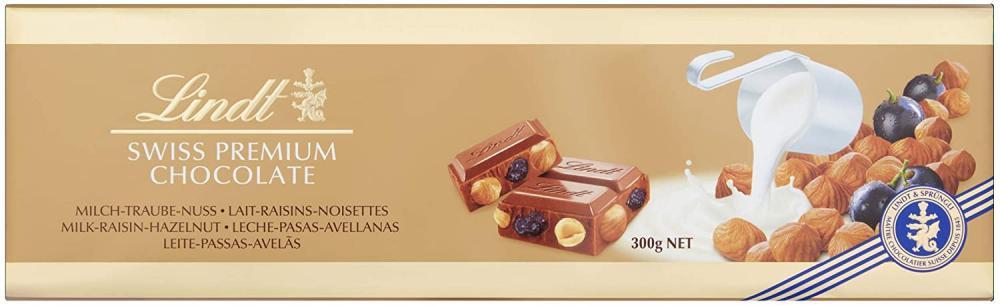 Lindt Hazelnut and Raisin Gold Chocolate Bar 300 g