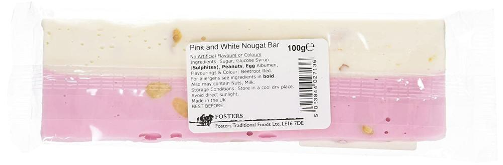 Fosters Pink and White Nougat Bar 100g
