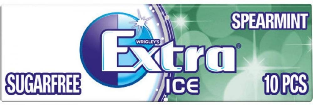 Wrigleys Extra Chewing Gum Sugar Free Ice Spearmint Flavour 14g