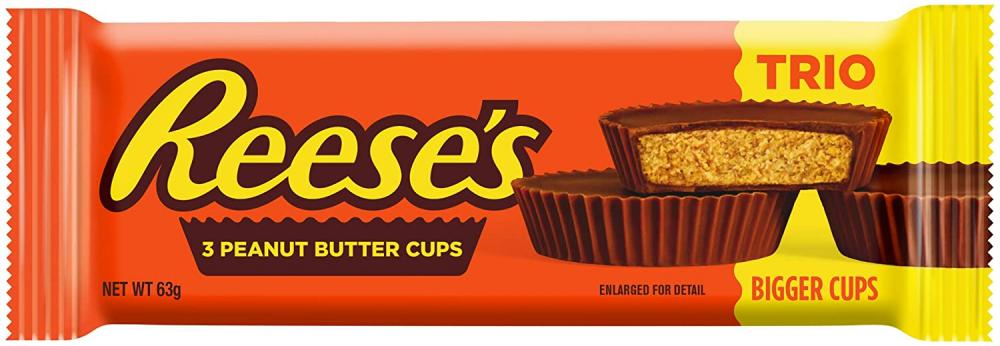 Reeses Peanut Butter Trio 3 Milk Chocolate Flavour Cups 63g