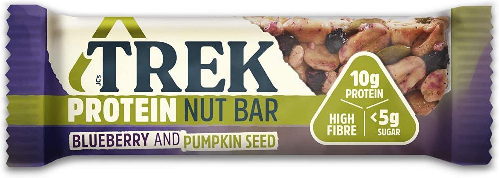 Trek High Protein Low Sugar Nut Bar Blueberry and Pumpkin Seed 40g