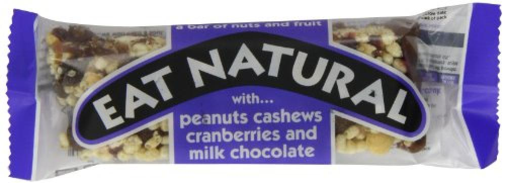 Eat Natural Fruit and Nut Bars - Milk Chococlate with Peanuts and Cranberries 45 g