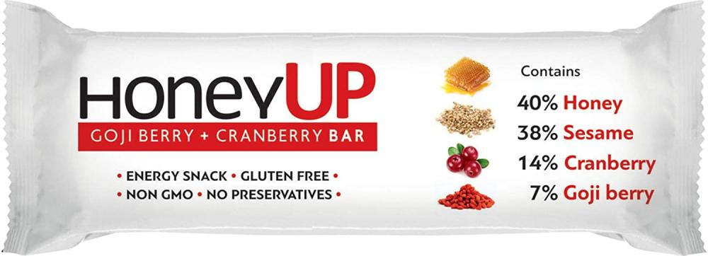 Melissokomiki Dodecanesse HoneyUp Goji Berry And Cranberry Bar 40g