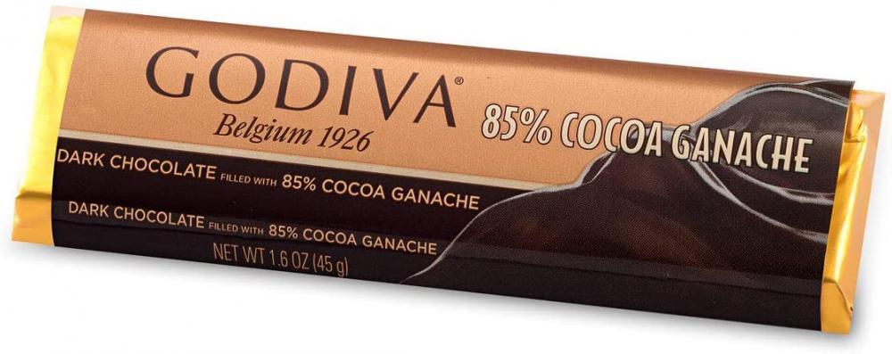 Godiva 85 Percent Dark Chocolate Ganache Bar 45g