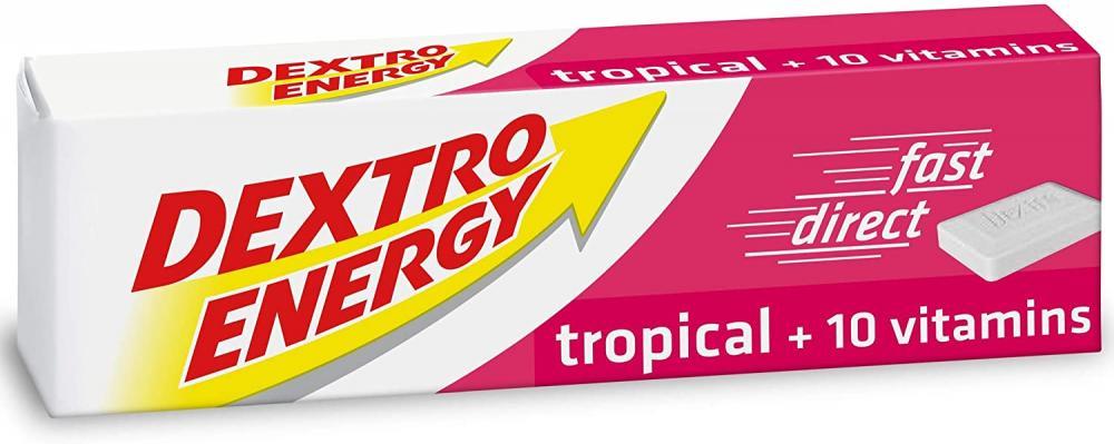 Dextro Energy Tropical Glucose Tablets 10 Vitamins Tropical Flavour 47g