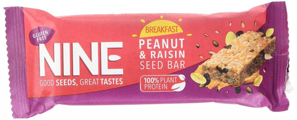 NINE Breakfast Peanut and Raisin Seed Bar 50g