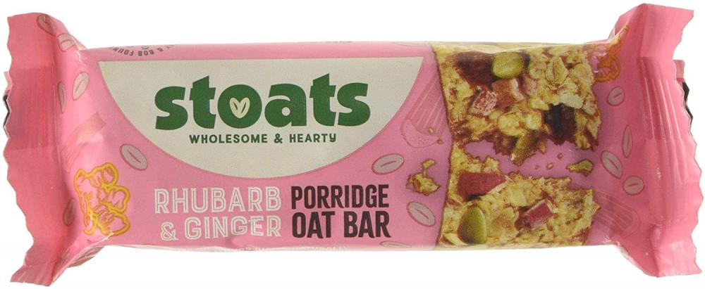 Stoats Rhubarb and Ginger Porridge Oat Bars 50g