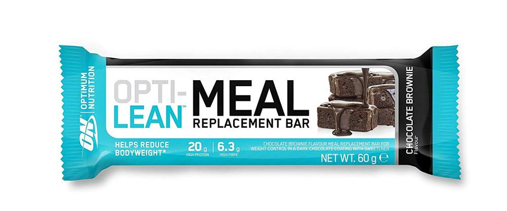 Optimum Nutrition Opti-Lean Meal Replacement Protein Bar with Vitamin B12Vitamin C and Vitamin D and High Fibre. Protein Meal Replacement - Chocolate Brownie 60g