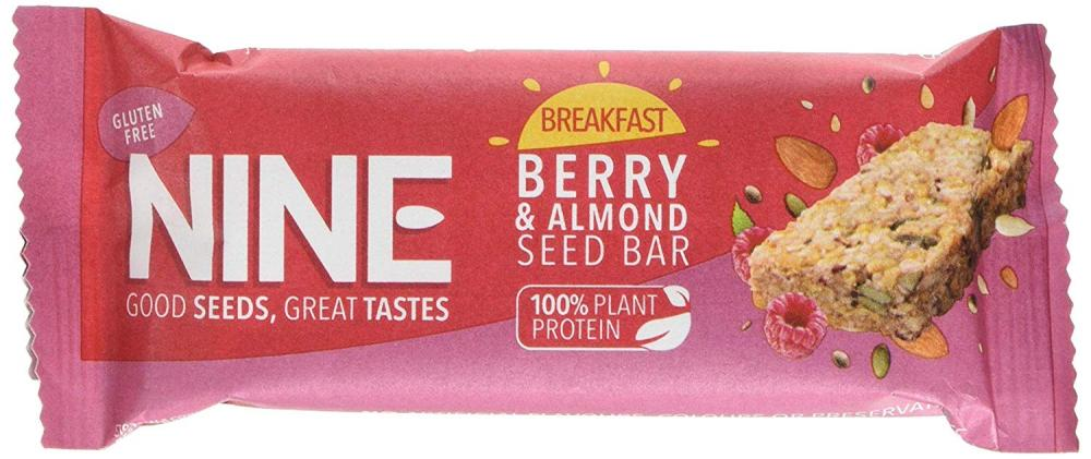 NINE Breakfast Berry And Almond Seed Bar 50g