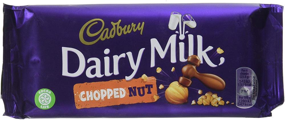 Cadbury Dairy Milk Chopped Nut Chocolate Bar 95g