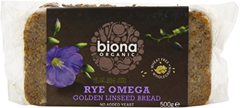Biona Organic Rye Omega 3 Golden Linseed Organic Bread 500 g
