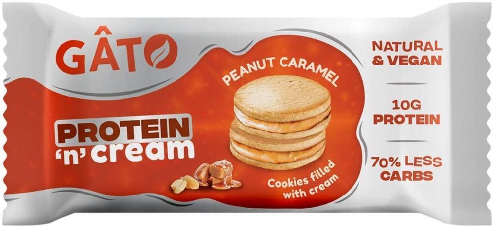 Gato Vegan Protein n Cream Cookies Peanut Caramel Biscuits 50g