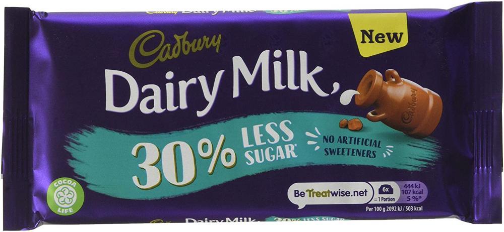 Cadbury Diary Milk 30 percent Less Sugar Chocolate Bar 85 g