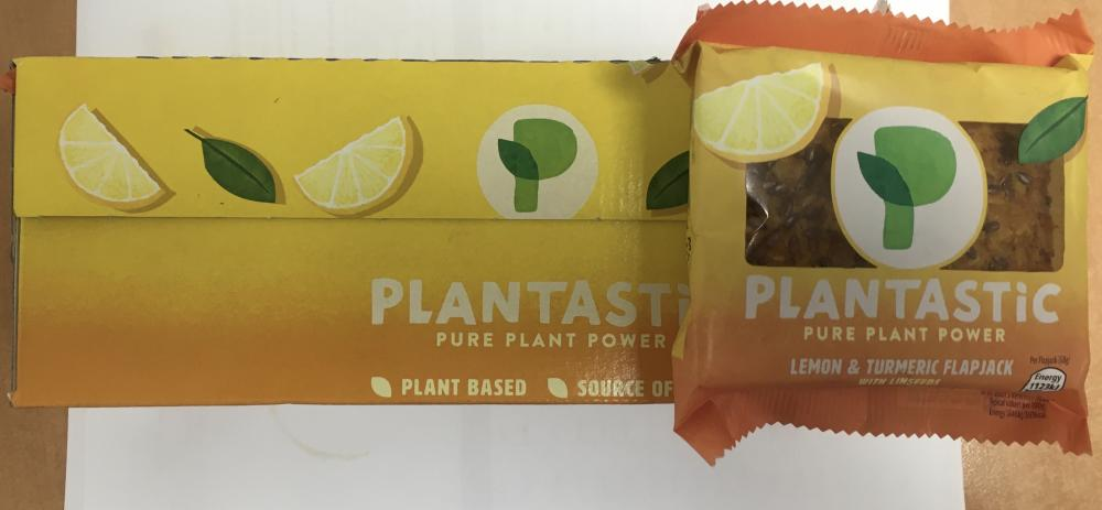 SALE CASE PRICE  Plantastic Lemon and Turmeric Flapjack 9 x 68g