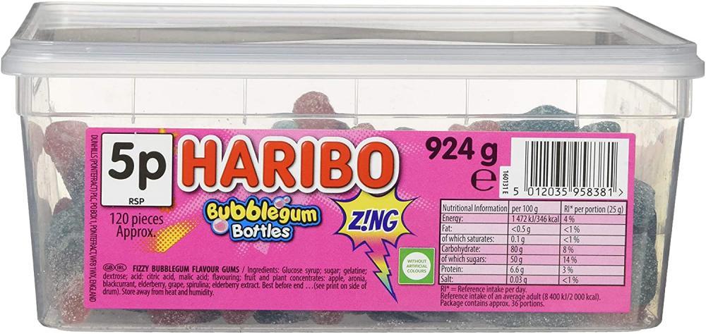 Haribo Fizzy Bubblegum Bottles 924g