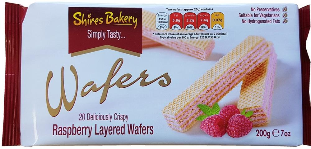 Shires Bakery 20 Raspberry Layered Wafers 200g