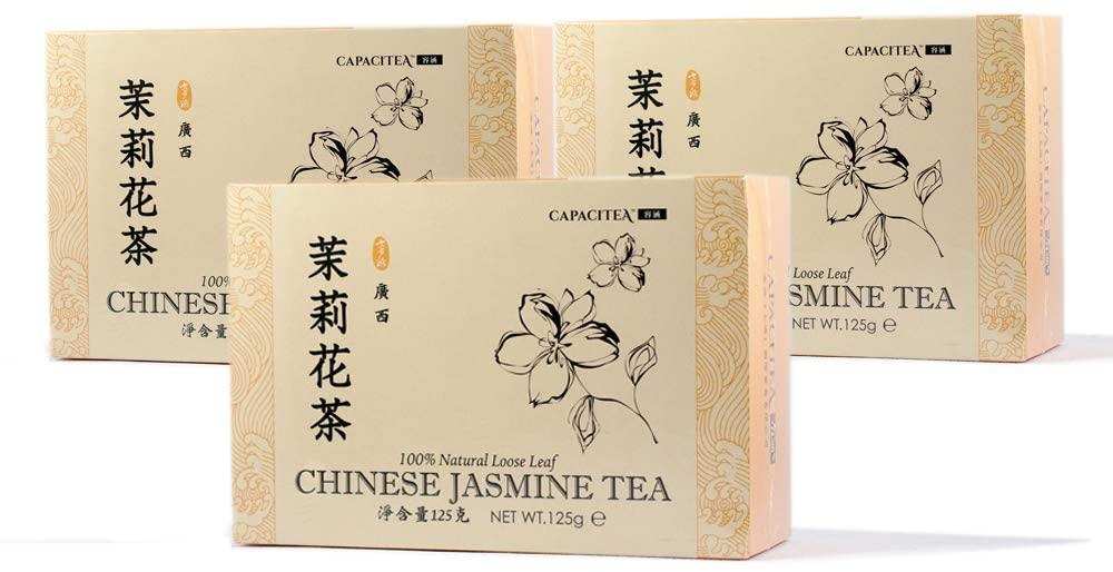 CAPACITEA Loose Leaf Chinese Green Tea Flavoured with Jasmine Flowers 125g