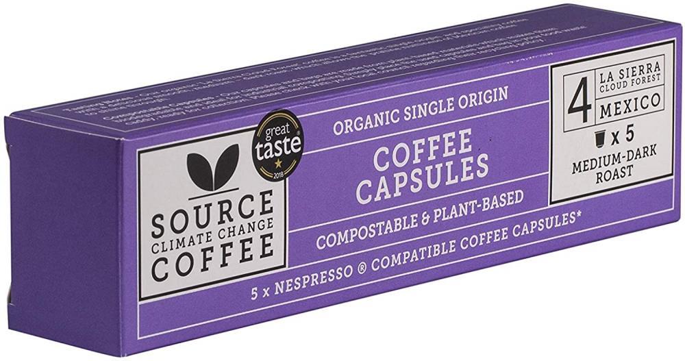 Source Climate Change Coffee Organic Mexico Medium Dark Roast Coffee Capsules 5 capsules