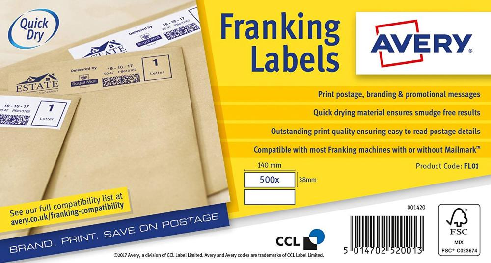 SALE  Avery FL01 Manual Feed Franking Labels White 140 x 38mm