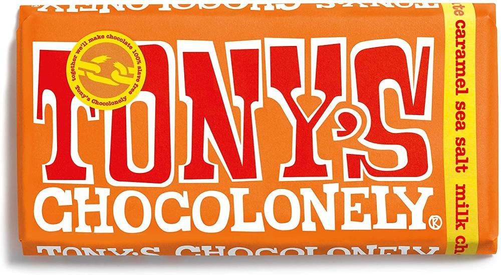 Tonys Chocolonely Caramel and Sea Salt Milk Chocolate Bar 180g