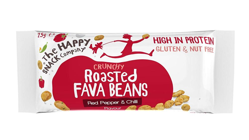 The Happy Snack Company Crunchy Roasted Fava Beans Red Pepper and Chilli Flavour 25g