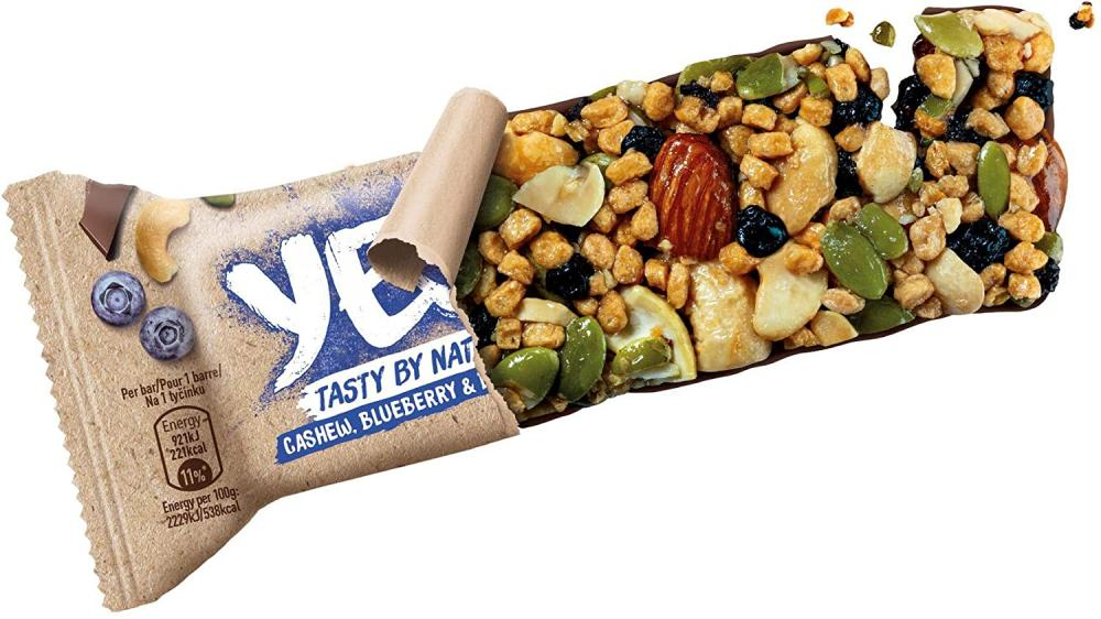 Yes Plant Protein Snack Nut Bar Cashew Blueberry and Dark Choc 45g