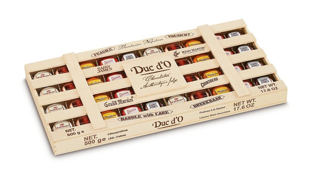 Duc dO Liqueur Filled Chocolates in Wooden Crate 500g