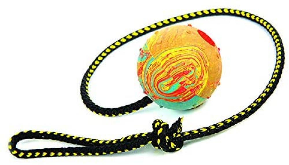 Dingo Fetch Ball Made of Hard Rubber with a String 60cm