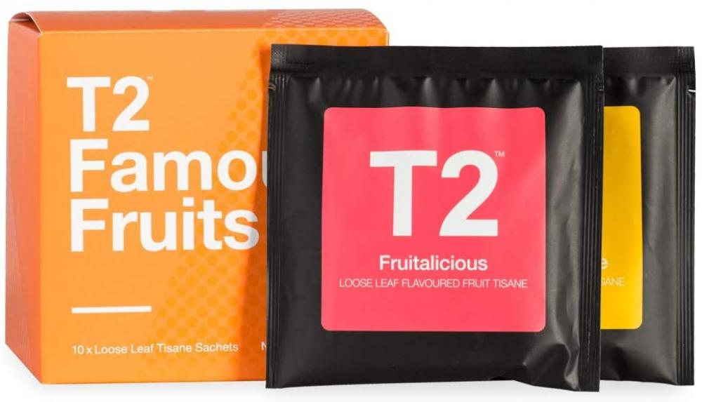 T2 Tea Famous Fruits Assorted Tea Sampler Gift Box 10 Sachets