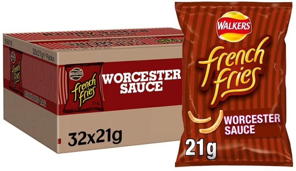 FLASH DEAL CASE PRICE  Walkers French Fries Worcester Sauce 32 x 21g